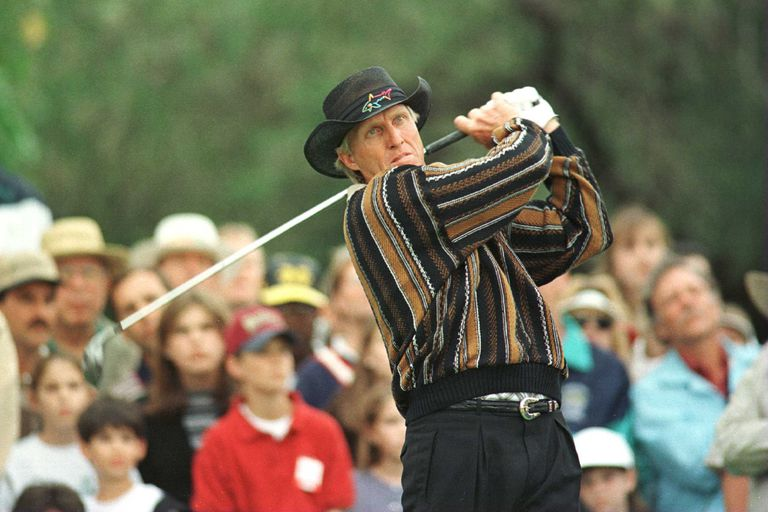Greg Norman plays a shot in the 1996 Doral Open