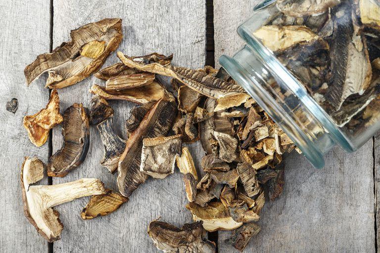 Dried mushrooms in a jar
