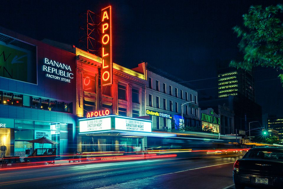 The Apollo Theater at 125th Street in the Harlem neighborhood of Manhattan in the night