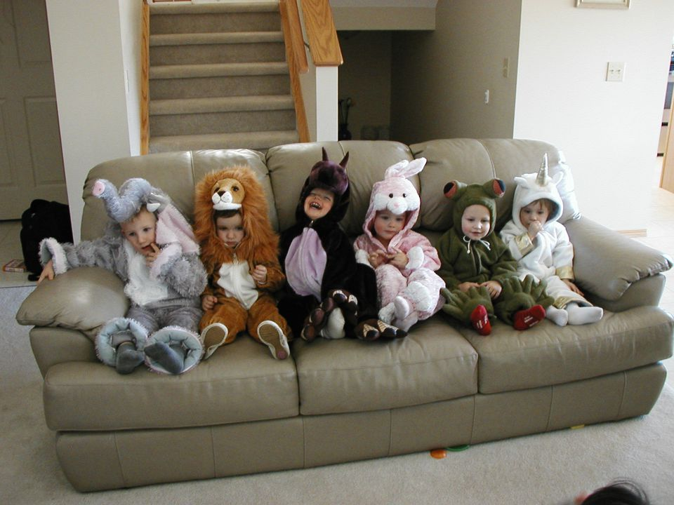 Children in Halloween costumes