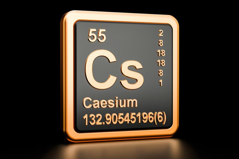 Caesium Cs, chemical element. 3D rendering isolated on black background