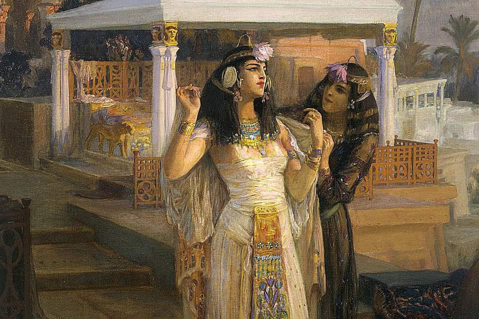 Cleopatra on the Terraces of Philae, 1896 by Frederick Arthur Bridgman (1847-1928), oil on canvas, 75x117 cm. 19th century.