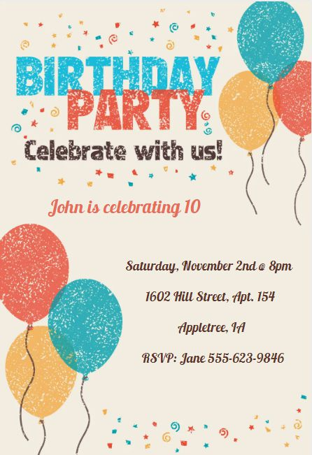 17 free printable birthday invitation templates a birthday party invite with blue yellow and orange balloons and confetti stopboris Gallery