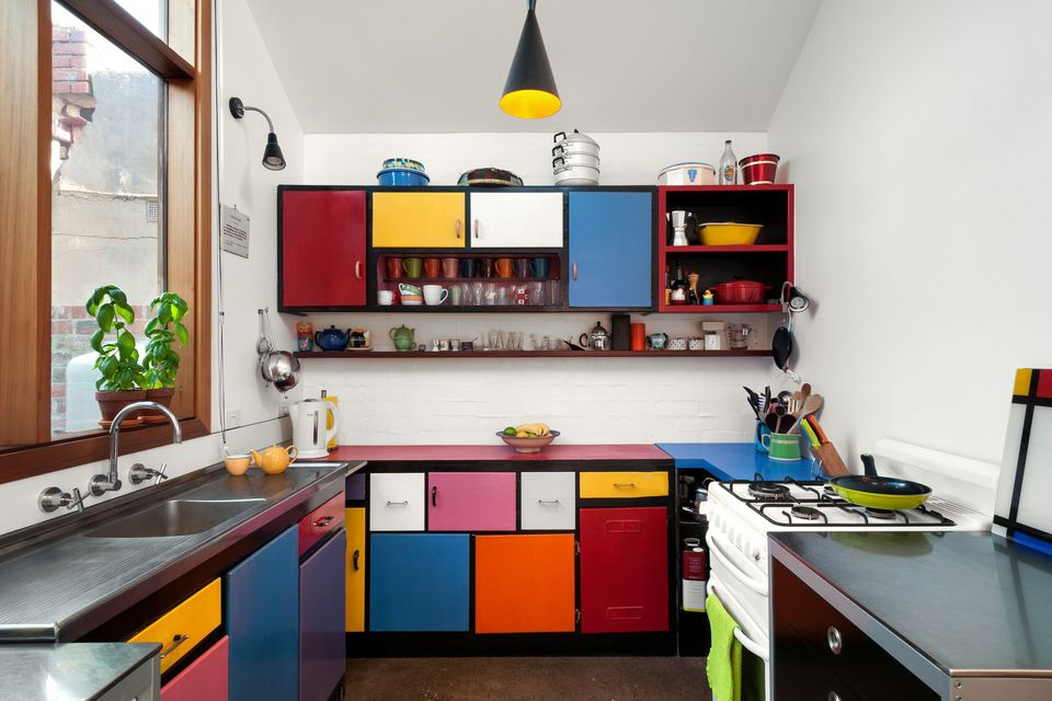 colorful Mondrian inspired kitchen