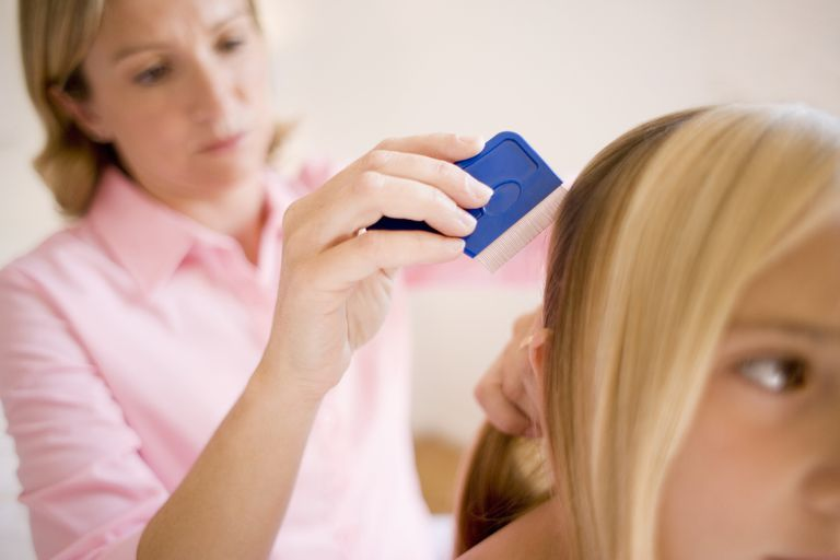 Mother combing daughter's hair with nitcomb