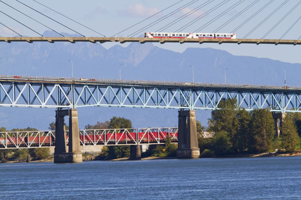 Skytrain Bridge and Patullo Bridge, New Westminster, British Columbia, Canada