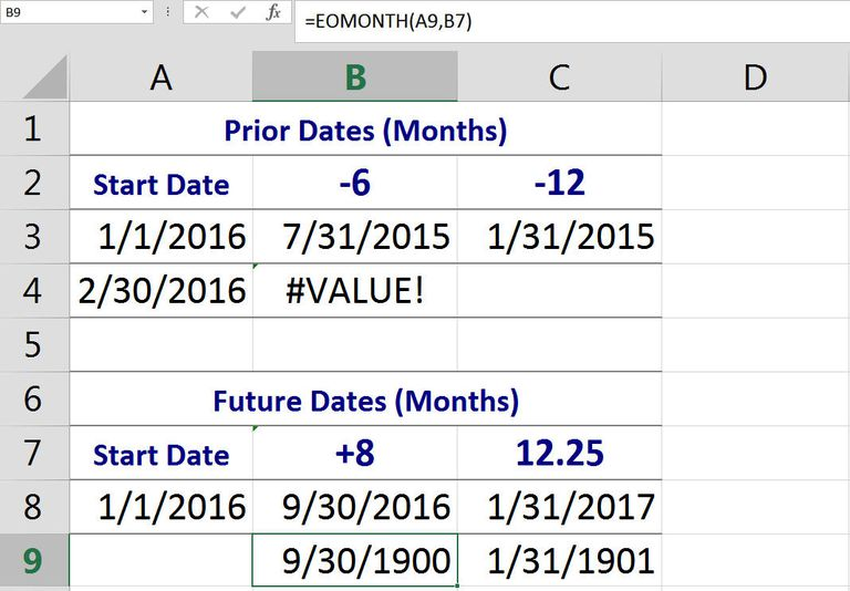 Using the EOMONTH Function to Add and Subtract Months to a Date