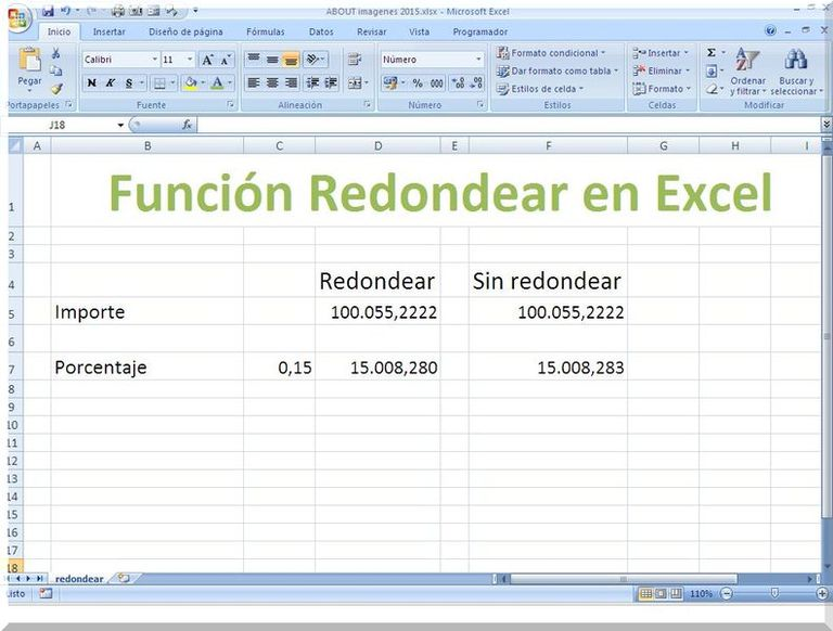 Redondear en Excel para calcular sin decimales