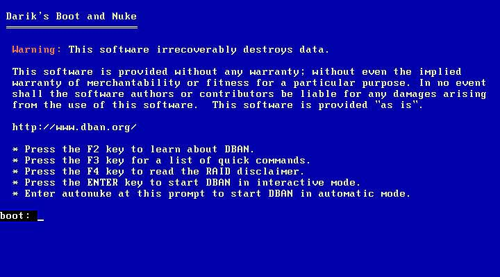 Screenshot of the DBAN hard drive wiping program