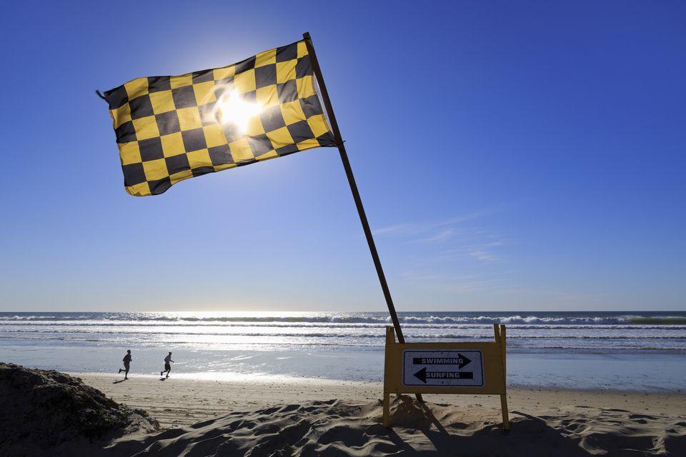 Lifeguard flag, Pacific Beach, San Diego