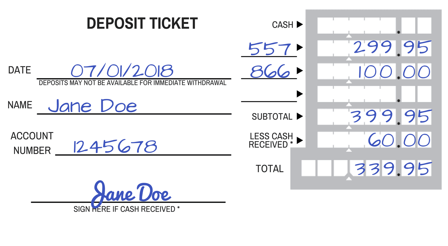 How to fill out a deposit slip ccuart Choice Image