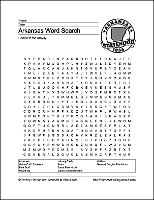 Arkansas printable wordsearch