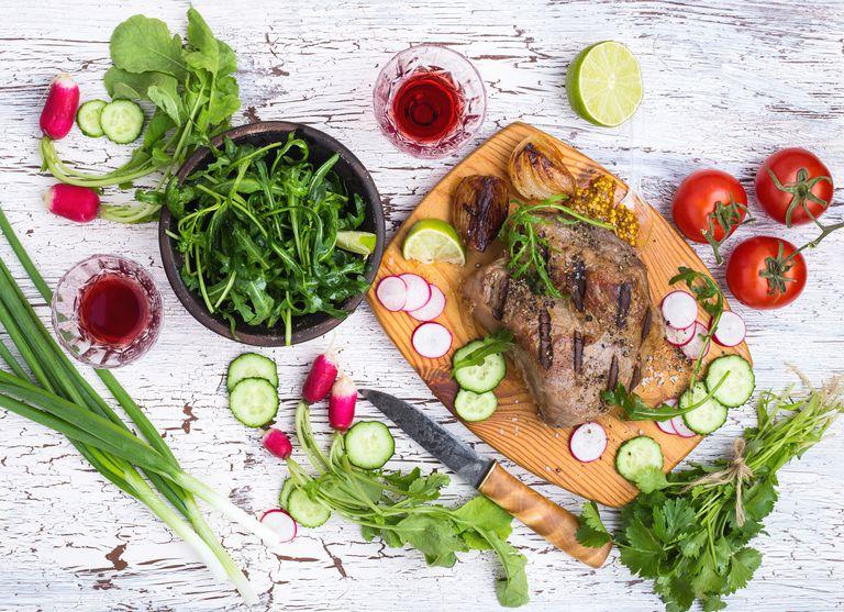 Overhead shot of healthy foods.