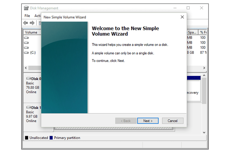 Screenshot of the New Simple Volume Wizard in Windows 10