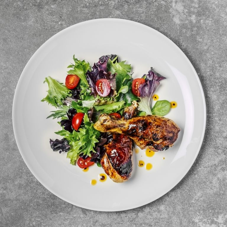 Roasted chicken with fresh salad