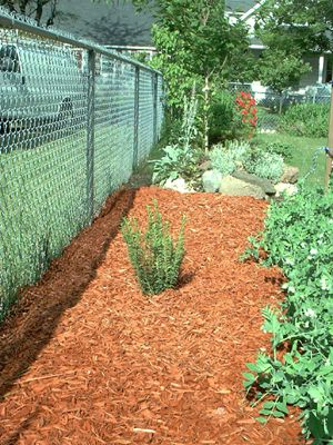 Picture of mulch-covered weed fabric.