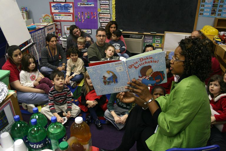 teacher reading story to class and parents