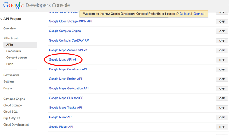 Google Developers Console APIs