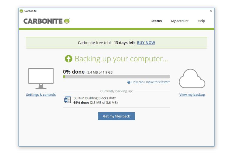 Screenshot of the Carbonite status tab