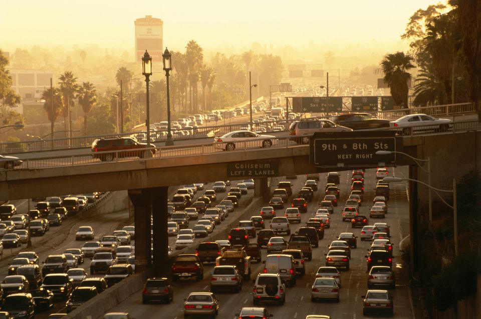 Traffic jam at rush hour on Harbor Freeway, Downtown L.A., Los Angeles, Kalifornien, USA