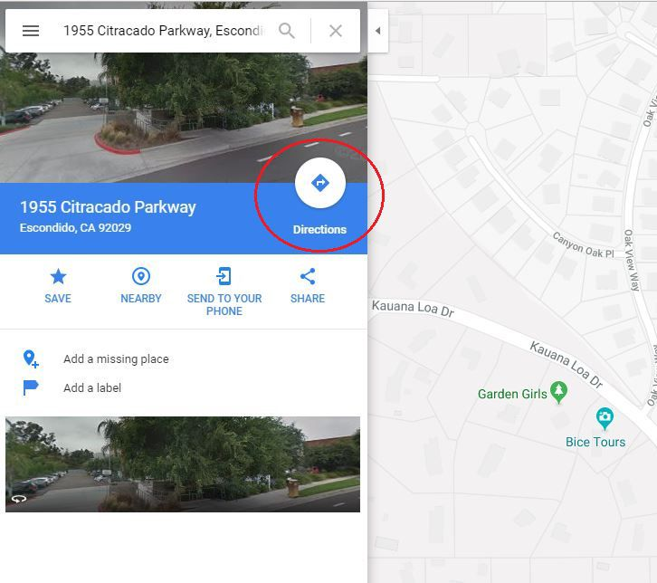 google maps and driving instructions