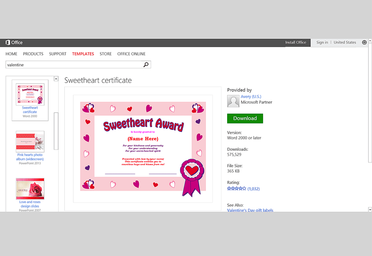 Free valentines day templates for ms office sweetheart award template for microsoft powerpoint 2g yelopaper Choice Image