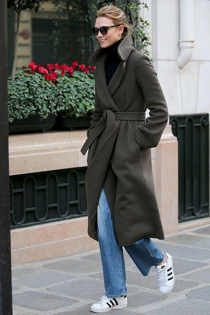 Karlie Kloss walks in the street of Paris on March 5, 2016 in Paris, France.