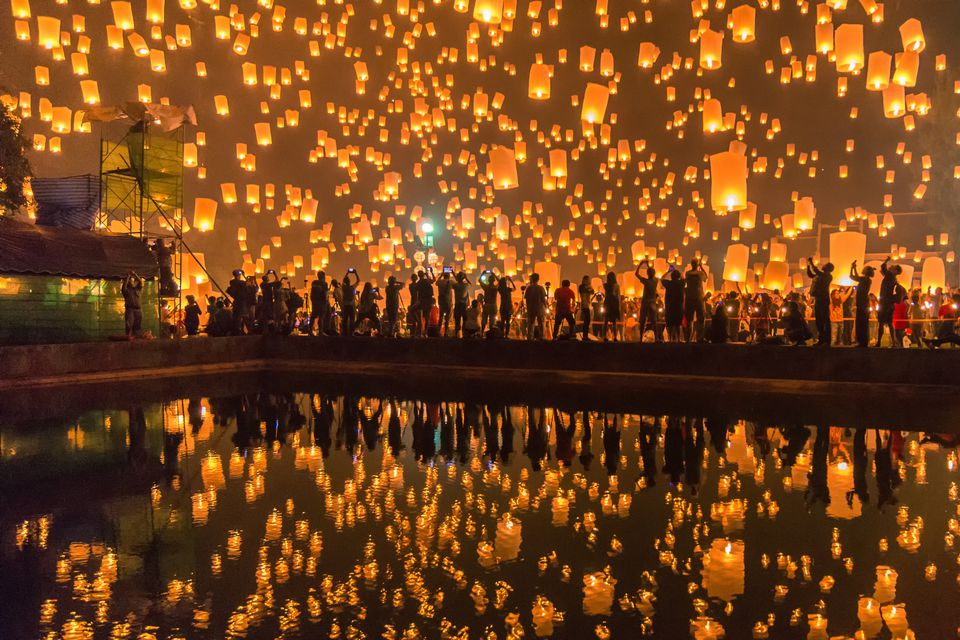 Loi Krathong festival and Yi Peng in Thailand