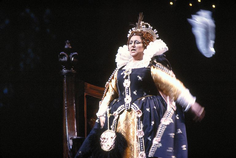 Montserrat Caballe performs as Queen Elizabeth I in Donizetti's opera, Roberto Devereux. This tragic opera tells the story of love and betrayal in the royal court. It is a very loose adaption of real life events that transpired during Queen Elizabeth I's reign.