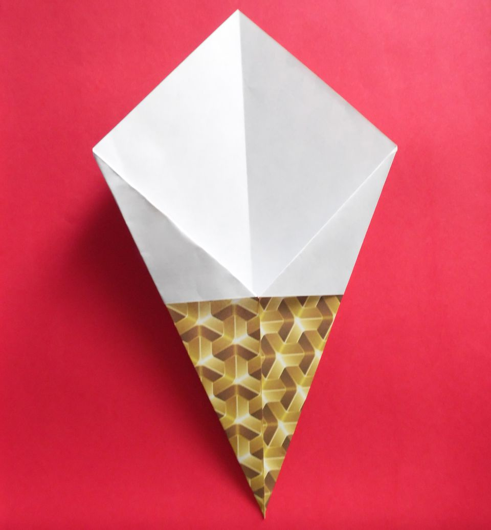 how to make an origami ice cream cone