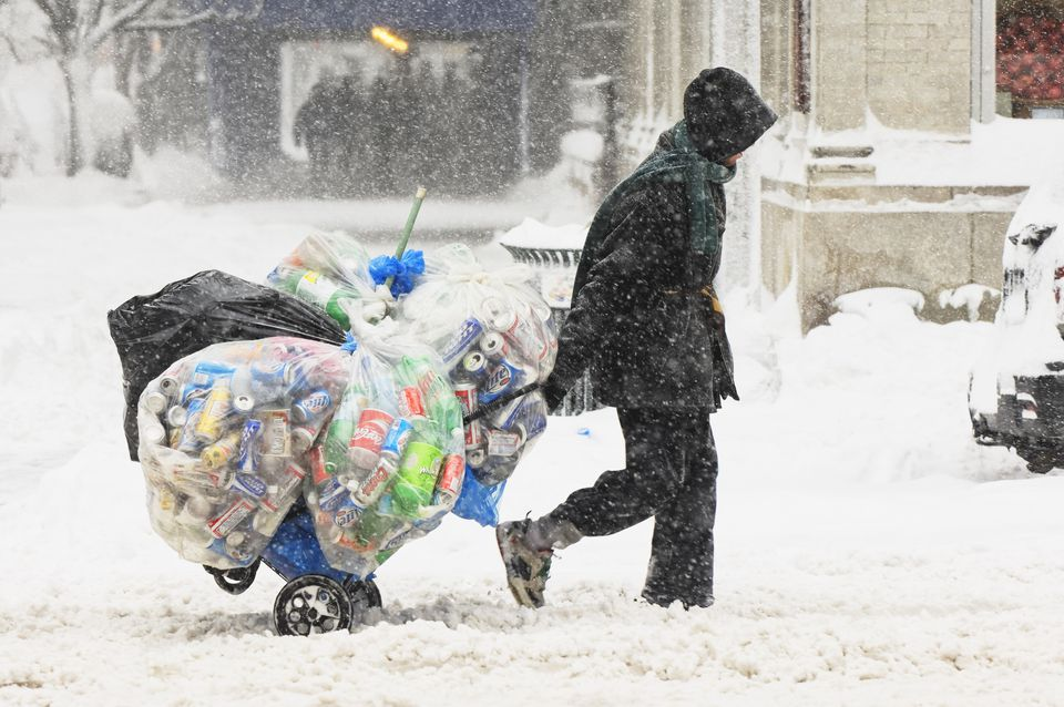 Homeless man in the snow