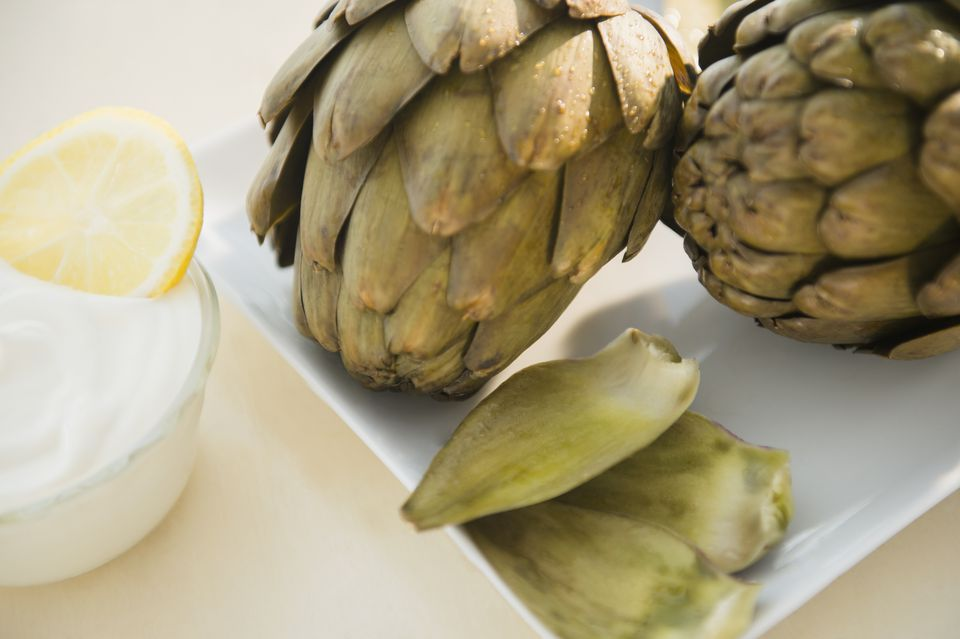 Shot of artichokes and dip