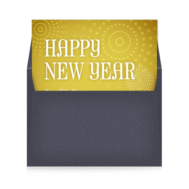 A yellow Happy New Year ecard