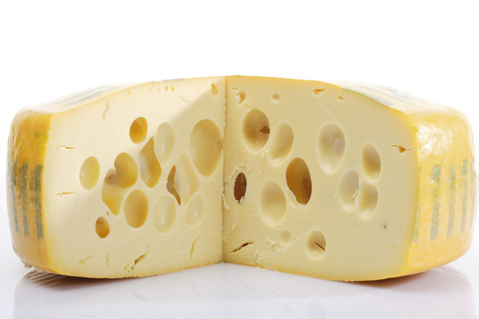 Fresh Swiss cheese, close-up