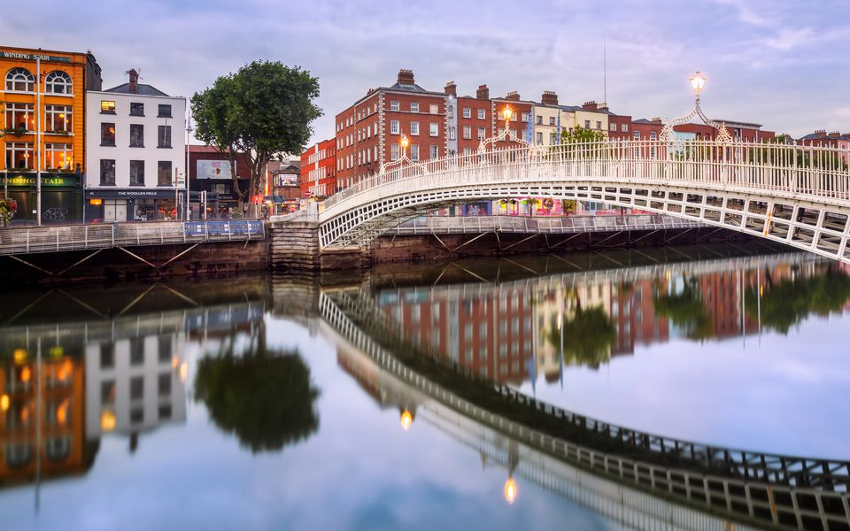 Ha'penny bridge on the Liffey River in Ireland