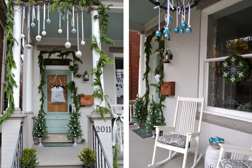 White blue and green christmas front porch
