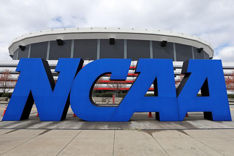 ATLANTA, GA - APRIL 05: A detail of giant NCAA logo is seen outside of the stadium on the practice day prior to the NCAA Men's Final Four at the Georgia Dome on April 5, 2013 in Atlanta, Georgia.