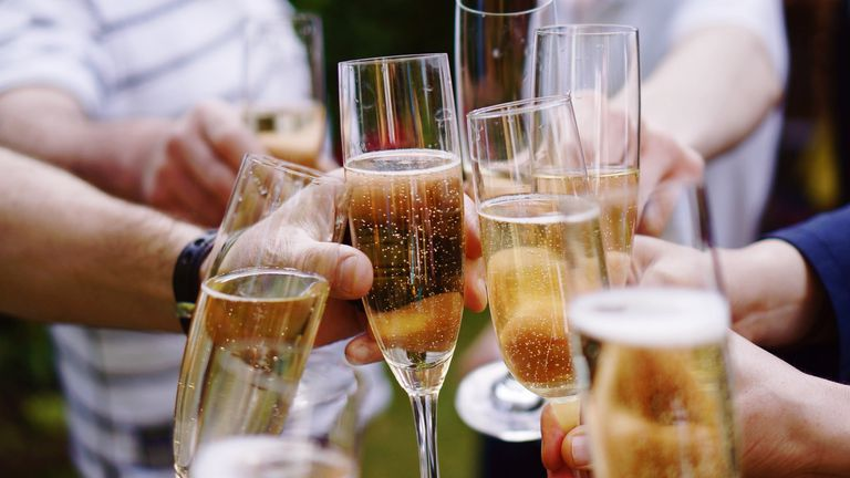 a toast with champagne