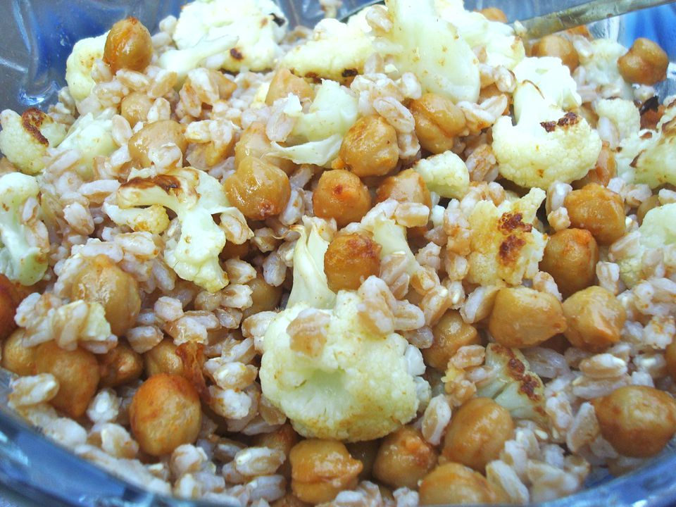 Farro with Spice Roasted Chickpeas and Cauliflower