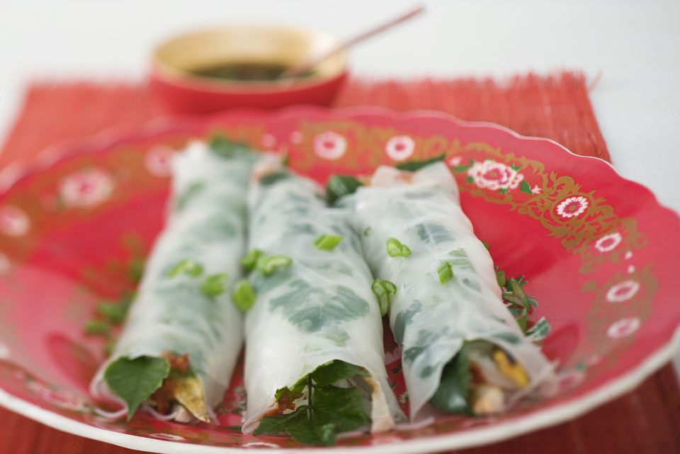 Vegan spring rolls with fresh herbs