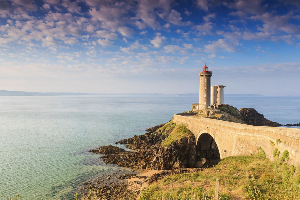 Famous lighthouse in France, on Brittany's Atlantic Coast