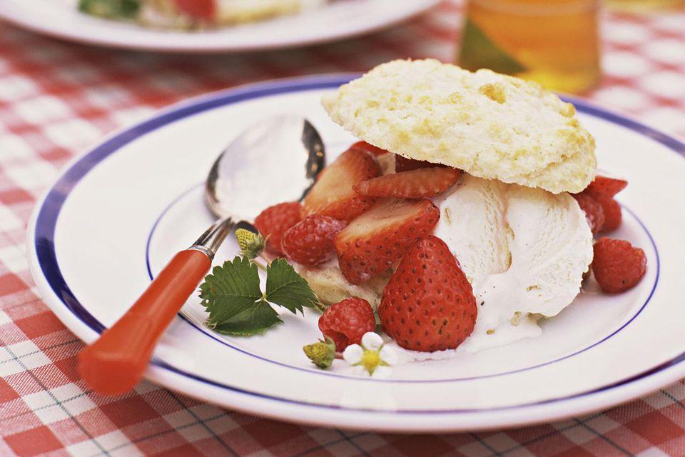 Strawberry Shortcake with Vanilla Ice Cream