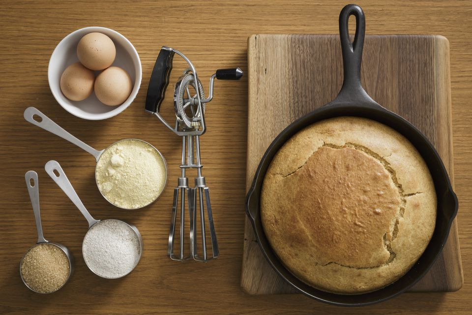 cornbread in cast iron pan with ingredients