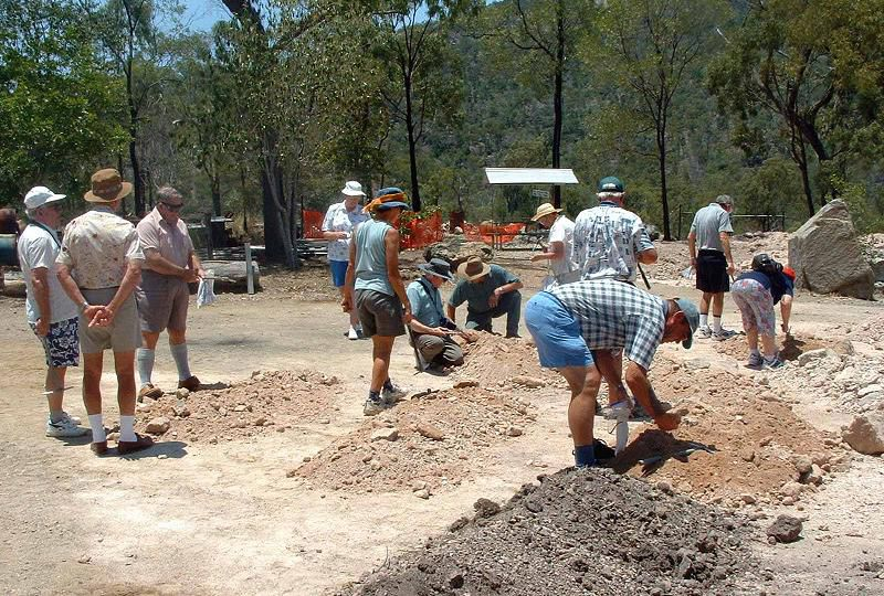 Fossicking for thunder eggs at Mount Hay Gemstone Tourist Park