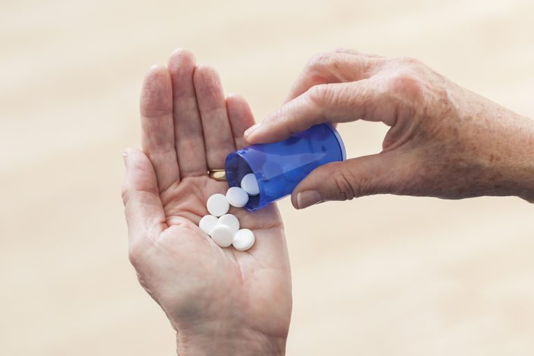 Senior's hand holding prescription pills