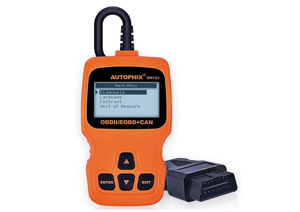 A picture of an automotive code reader showing the connector and the device used to read automotive codes.