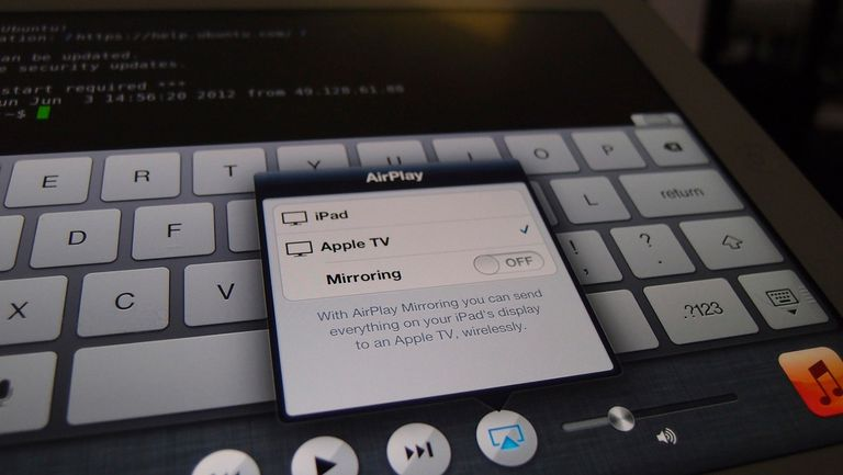 iPad connected to a projector via Apple TV. Airplay feature.