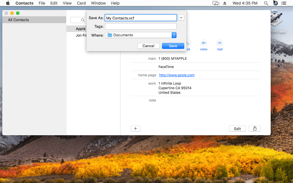 Screenshot showing how to export Mac contacts to a VCF file