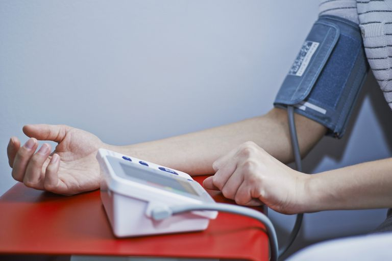 person testing blood pressure