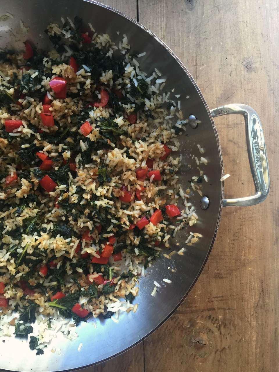 Stir-Fried Jasmine Rice with Kale